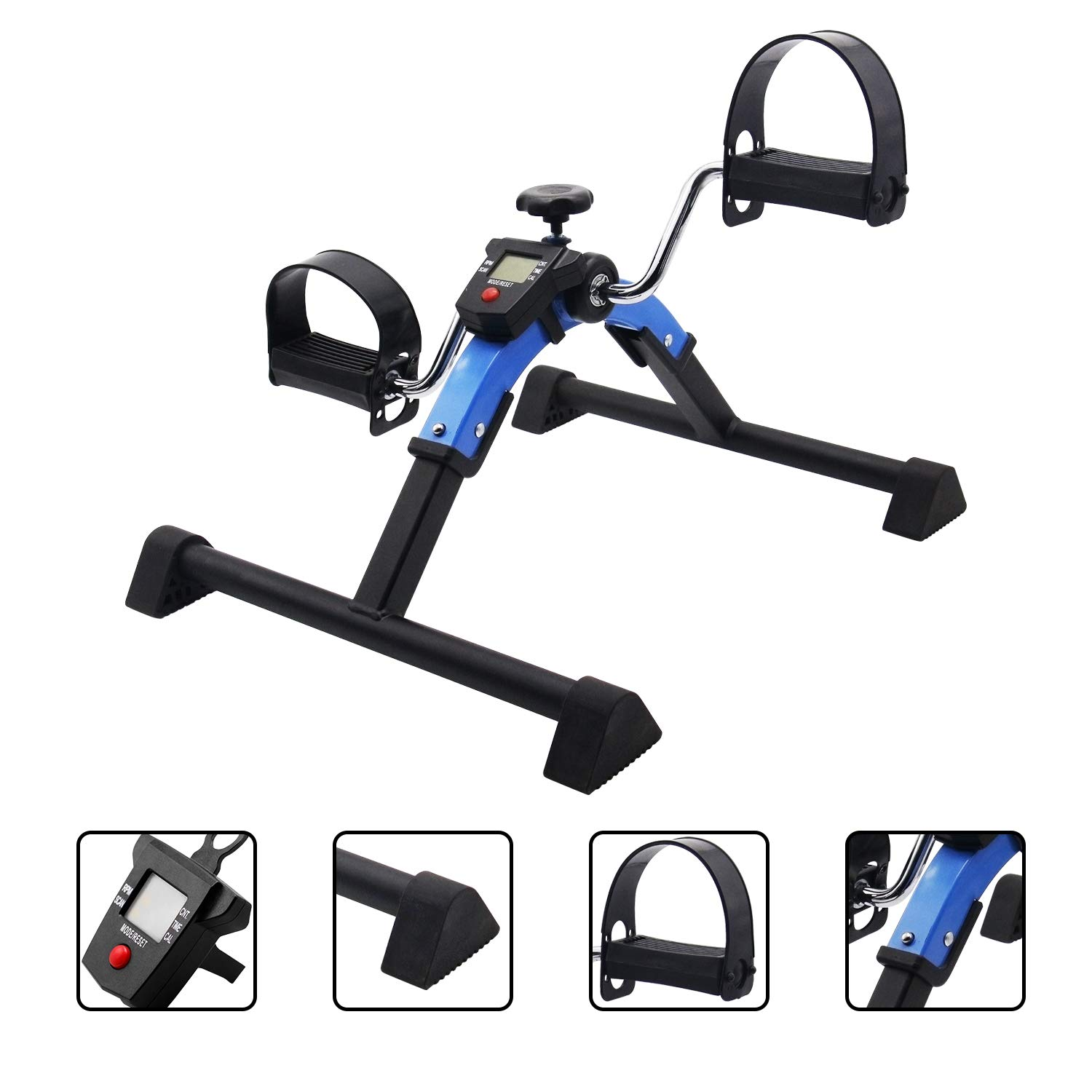Exercise Bike Under Desk Pedal Exerciser with LCD Monitor Mini Stationary Portable Folding Exercise Equipment for Home