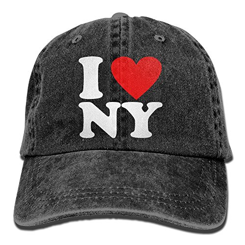 I Love NY New York Unisex Baseball Cap Cotton Denim Adjustable Hunting Cap for Men Or Women Black