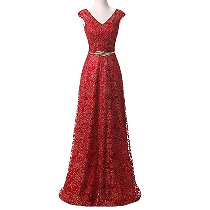Women Formal Wedding Lace Evening Ball Gown Prom Dresses Sleeveless Long Maxi Evening Party Dress: Amazon.co.uk: Clothing
