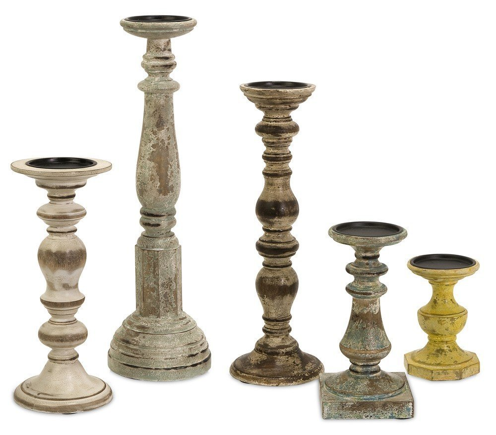 IMAX 5544-5 Kanan Wood Candleholders In Distressed Finishes , Set of 5 by Imax