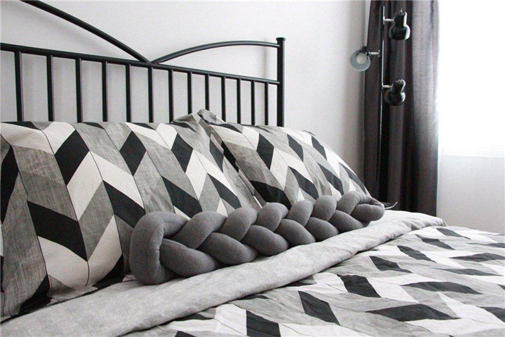 1.5 Meters, White Baby Crib Bumper Knotted Braided Plush Nursery Cradle Decor Newborn Gift Pillow Cushion Junior Bed Sleep Bumper