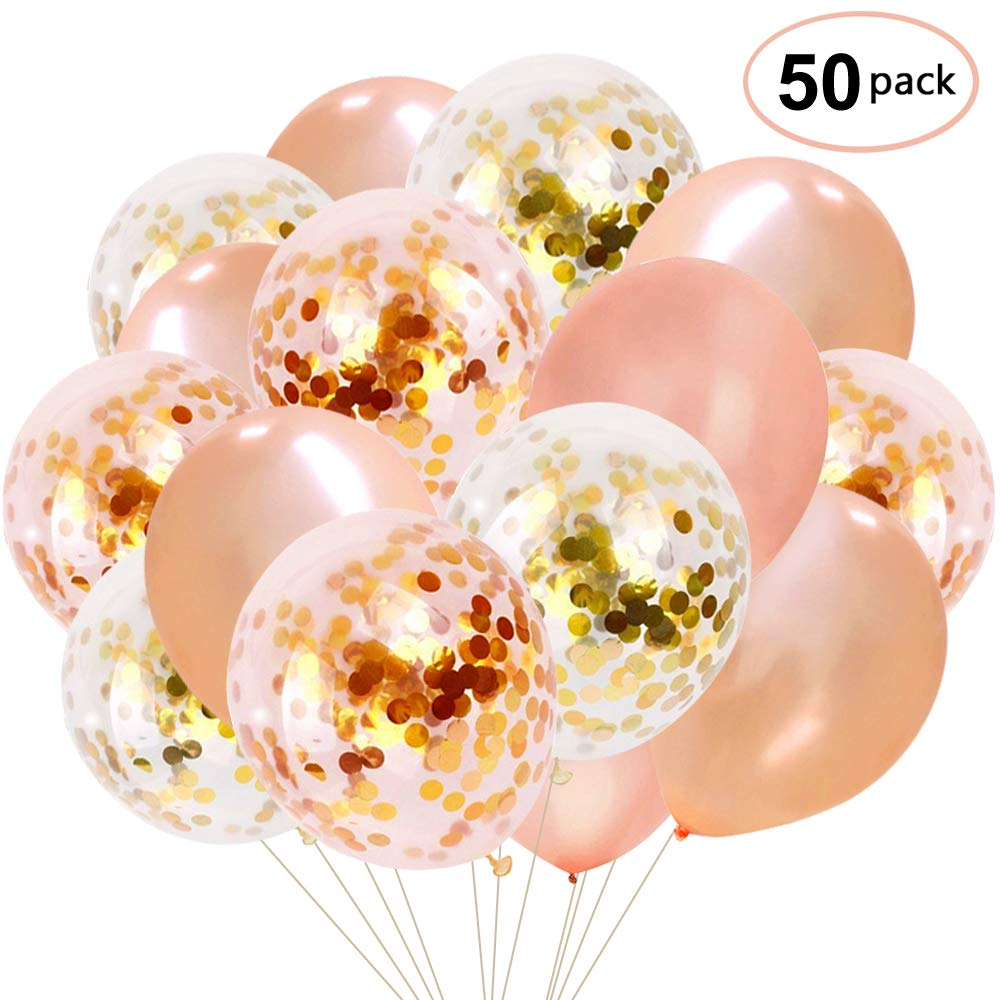 Party Supplies Balloons Rose Gold Confetti Balloons 50 pack 12 ...