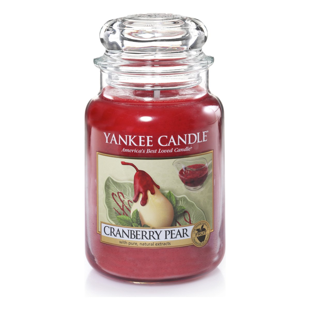 Rosso 10.1X9.8X17.7 Cm Vetro Yankee Candle 1305818E Cranberry Pear Candele In Giara Grande