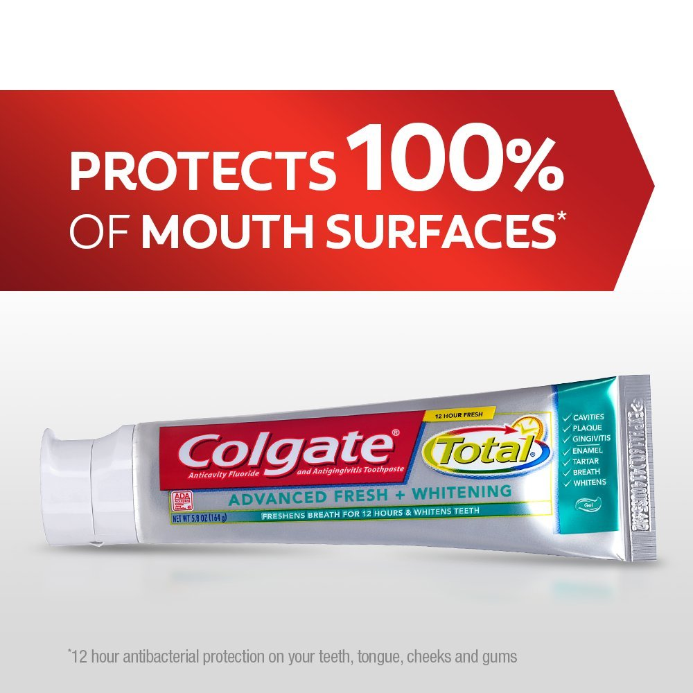 Colgate Total Advanced Fresh + Whitening Gel Toothpaste - 5.8 ounce (24 Pack) by Colgate (Image #6)