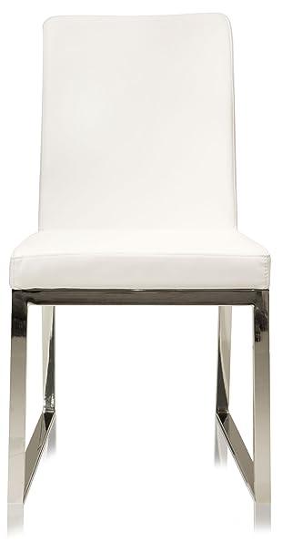 UrbanMod Lexington Parsons Chair White Faux Leather Chrome Legs Set Of 2