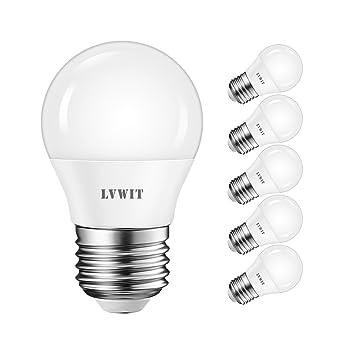 LVWIT Bombillas LED G45 E27 (Casquillo Gordo) - 5W equivalente a 40W, 470