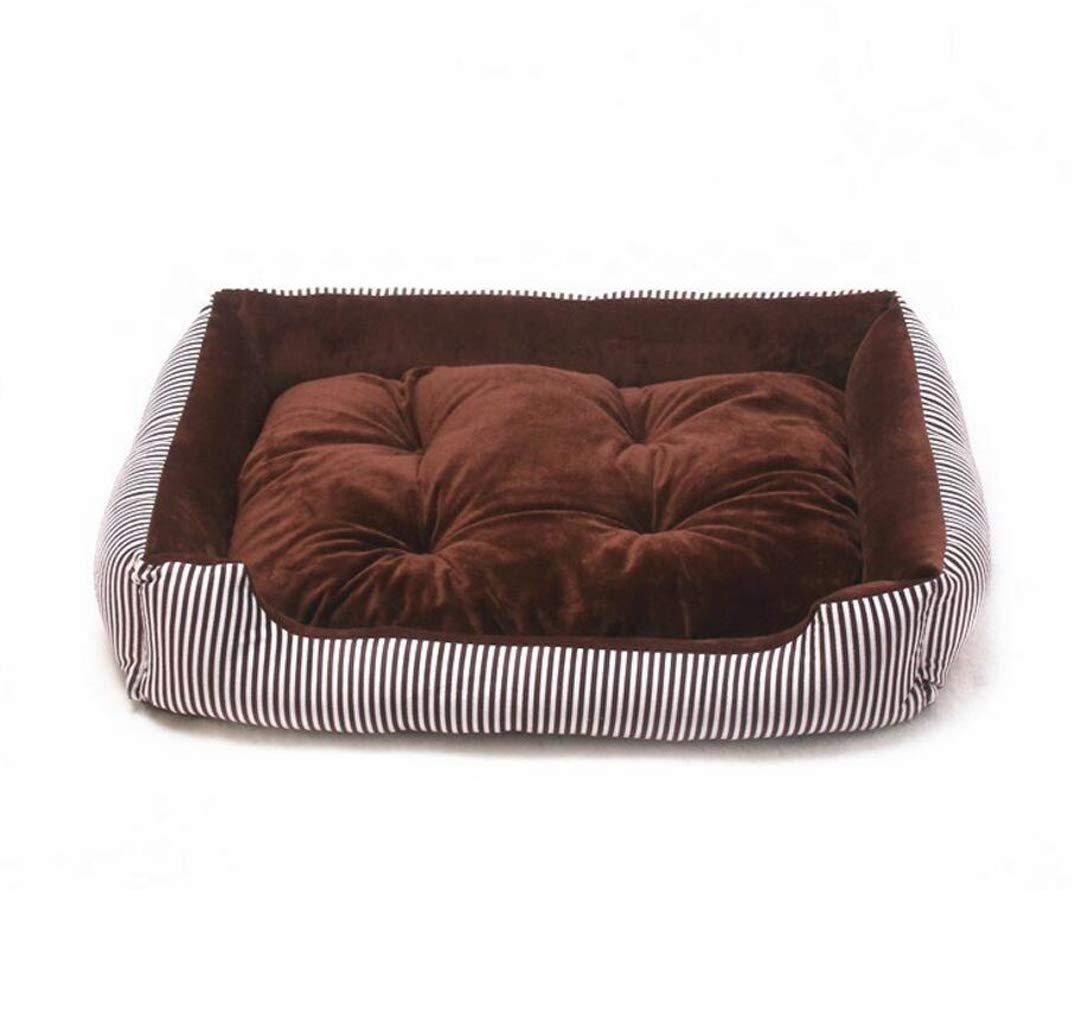 BROWN 50cm BROWN 50cm Autumn and Winter Kennel Teddy golden Hair Large and Medium-Sized Dog Striped pet nest Dog Mattress cat Litter (color   Brown, Size   50cm)