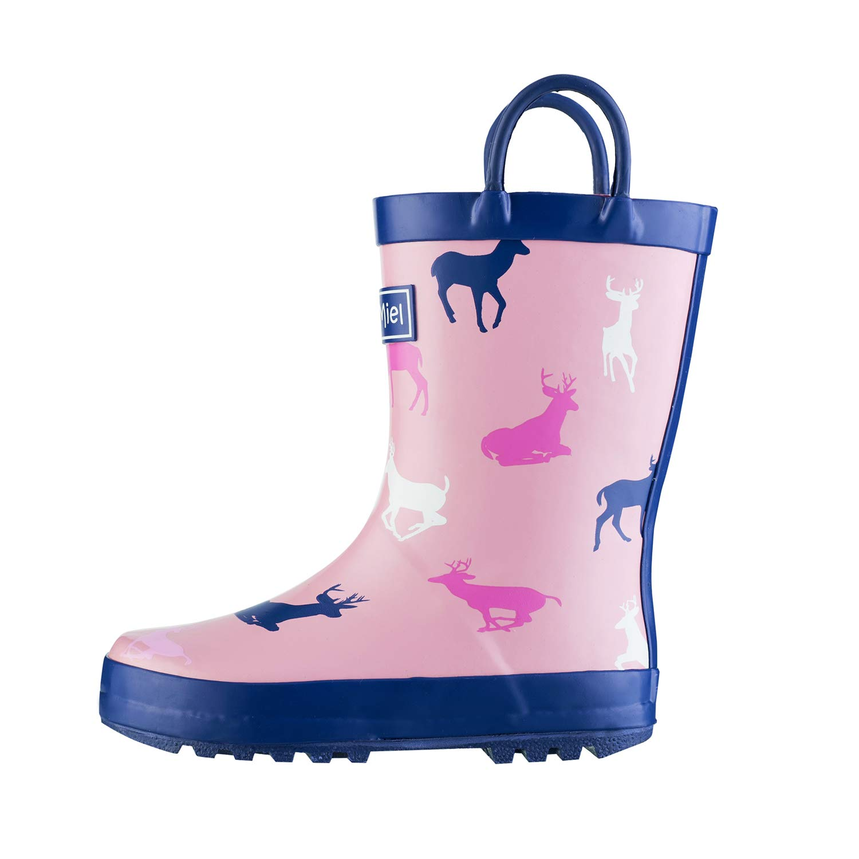 CasaMiel Kid&Toddler Rain Boots for Girls, Children's Handcrafted Rubber Boots, Pink Christmas Deer