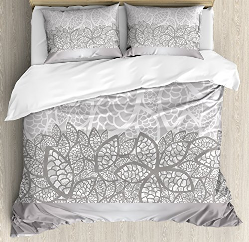 Ambesonne Grey Duvet Cover Set King Size, Lace Inspired Flower Motifs Bridal Composition Stylized Leaves Wedding Theme, Decorative 3 Piece Bedding Set with 2 Pillow Shams, Gray Pale Grey White -