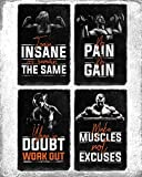 Set of Four Motivational Fitness Posters. Wall Art Inspiration and Quote Decals with Workout, Weight Lifting, Bodybuilding and No Excuses Inspirational Images. No Pain No Gain Prints. Great Mens Gifts