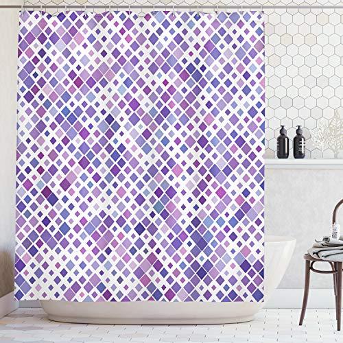 Ambesonne Lavender Shower Curtain Set, Purple Retro Mosaic Creative Pattern Square Rhythm Abstract Art Print Design, Fabric Bathroom Decor with Hooks, 75 inches Long, Violet Purple