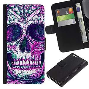 Planetar® Modelo colorido cuero carpeta tirón caso cubierta piel Holster Funda protección Para Apple (5.5 inches!!!) iPhone 6+ Plus ( Skull Skeleton Ink Purple Tattoo )