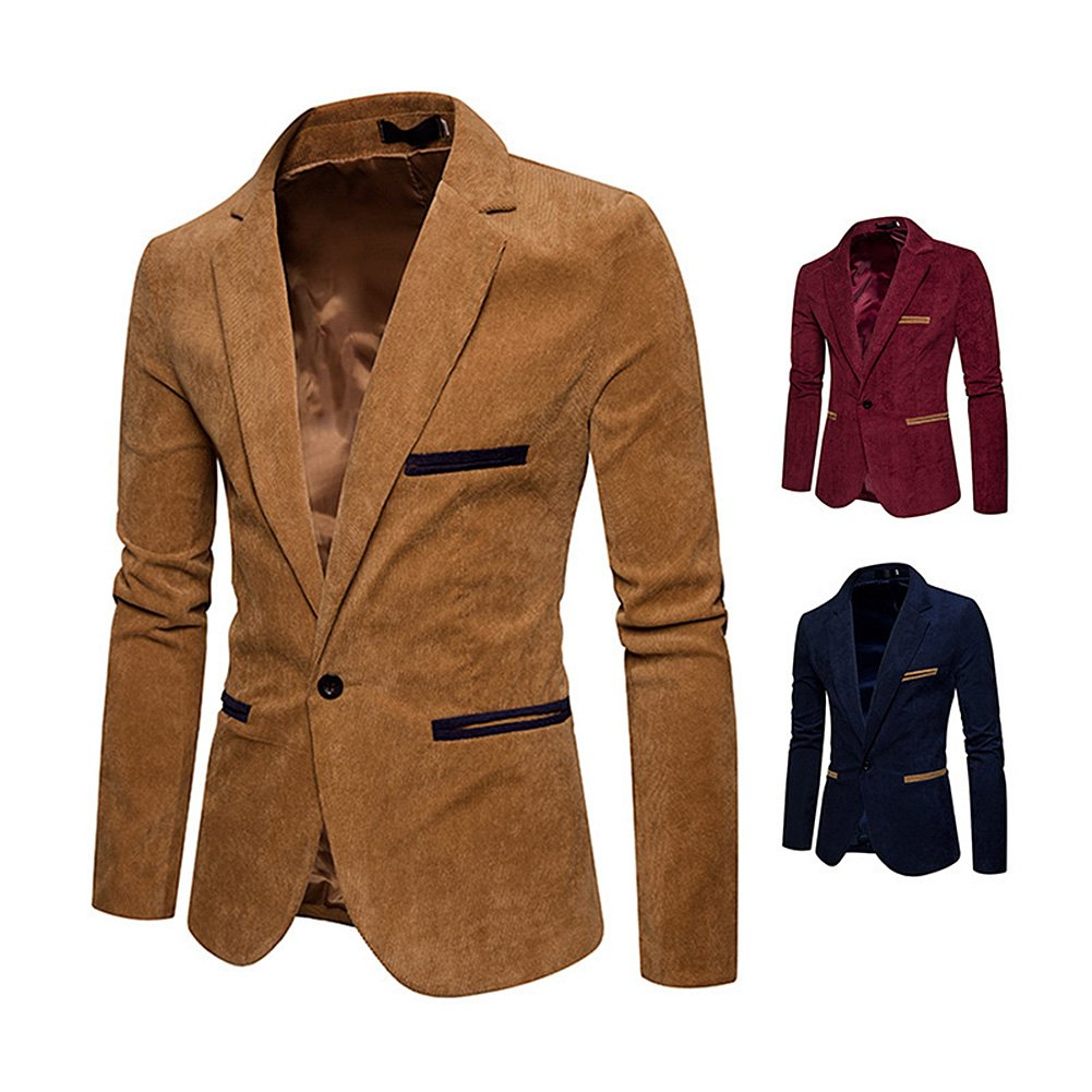 Amazon.com: Studyset Men Stylish Corduroy Suit Jacket Casual ...