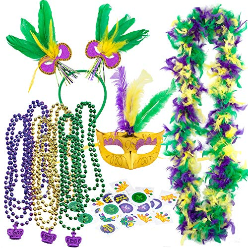 JOYIN Mardi Gras Women Party Accessory with 9 Beads Beaded Necklaces, Mask, Feather Boa, Headband, 3 Charms, 24-Count Temporary -