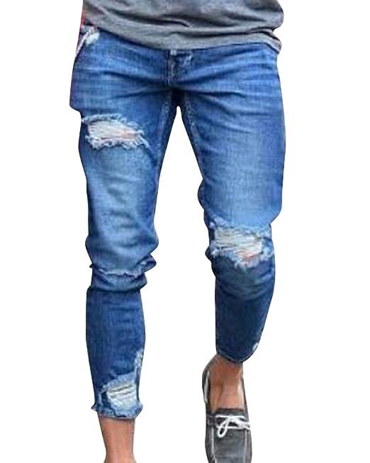 22cf0c5bf Skinny Vaqueros Hombre Slim Fit Pantalones Rotos con Bolsillos Casual  Pantalón Mezclilla Rasgado Pantalones  Amazon.es  Ropa y accesorios