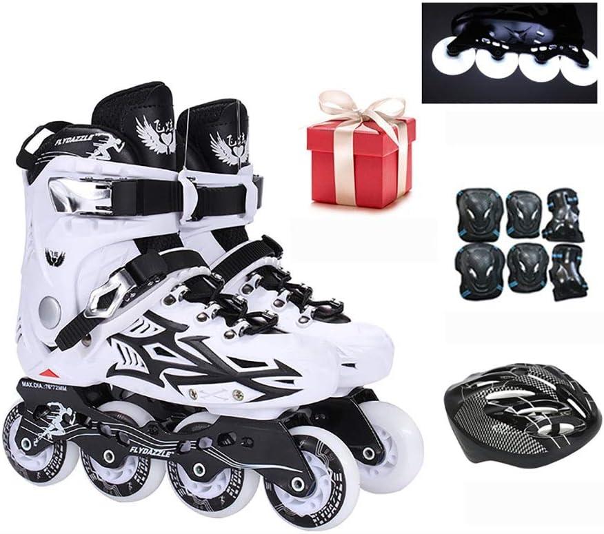 ローラースケート靴インライン初心者アウトドアフラッシュレーシングスケート大人用メンズレディースローラーブレードホワイト/ブラック (Color : 白い, Size : EU 42/US 9/UK 8/JP 26cm) 白い EU 42/US 9/UK 8/JP 26cm
