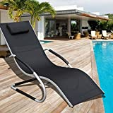 Sundale Outdoor Indoor All Weather Aluminum Chaise Lounge Chair with Head Pillow and Armrests Rocking Wave Sunbathing Recliner for Patio, Garden, Beach, Backyard, Pool, Weight Capacity 250 Pounds