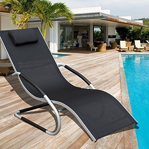 Sundale Outdoor Indoor All Weather Aluminum Chaise Lounge Chair with Head Pillow and Armrests Rocking Wave Sunbathing Recliner for Patio, Garden, Beach, Backyard, Pool, Weight Capacity 250 - Arm Chairs Aluminum