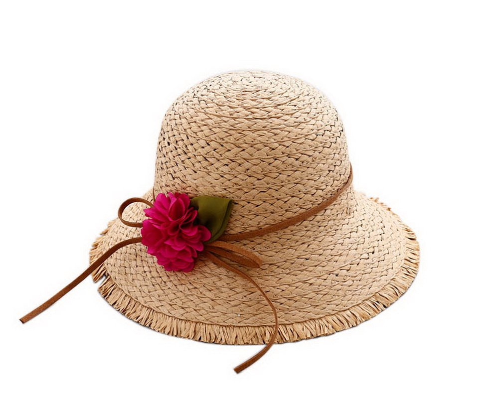 Gentle Meow Girls Flower Wide-brimmed Straw Hat Travel Beach Picnic Summer Sun Hats Khaki