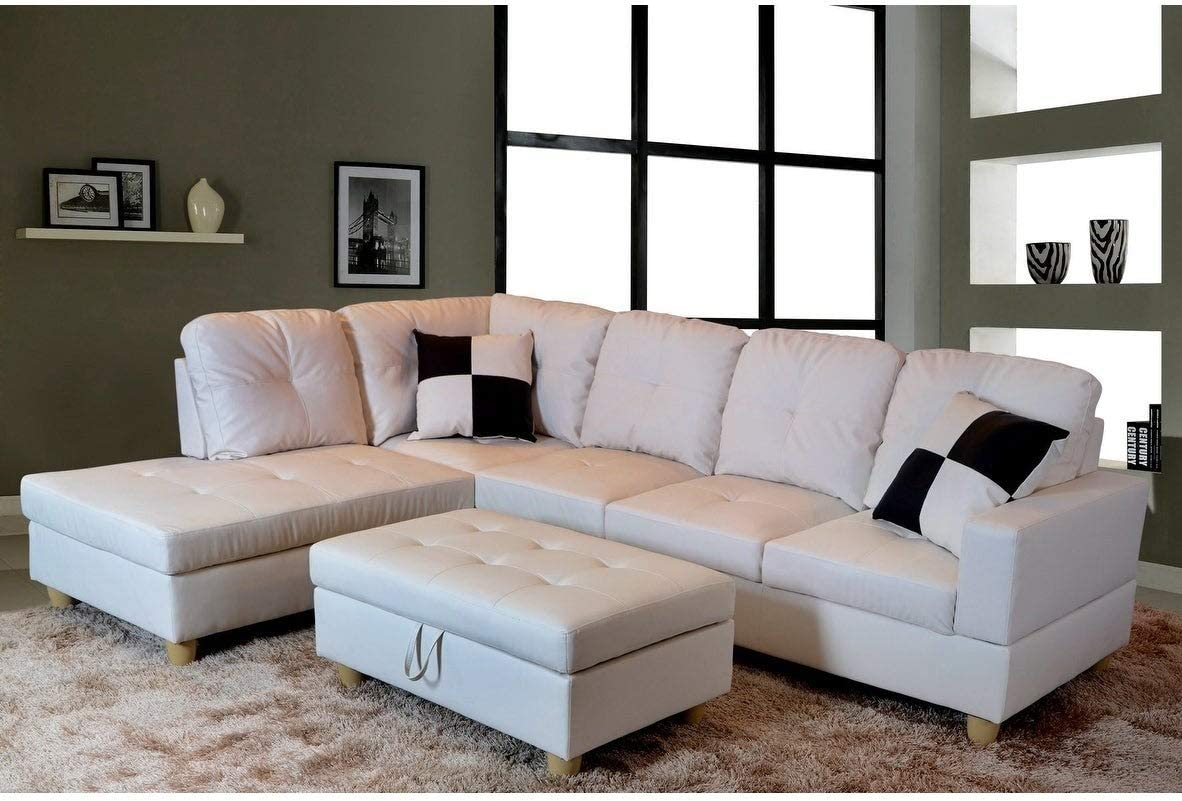 Golden Coast Furniture Modern 3-Piece Faux Leather Sofa Sectional with Ottoman Storage Red Right Facing