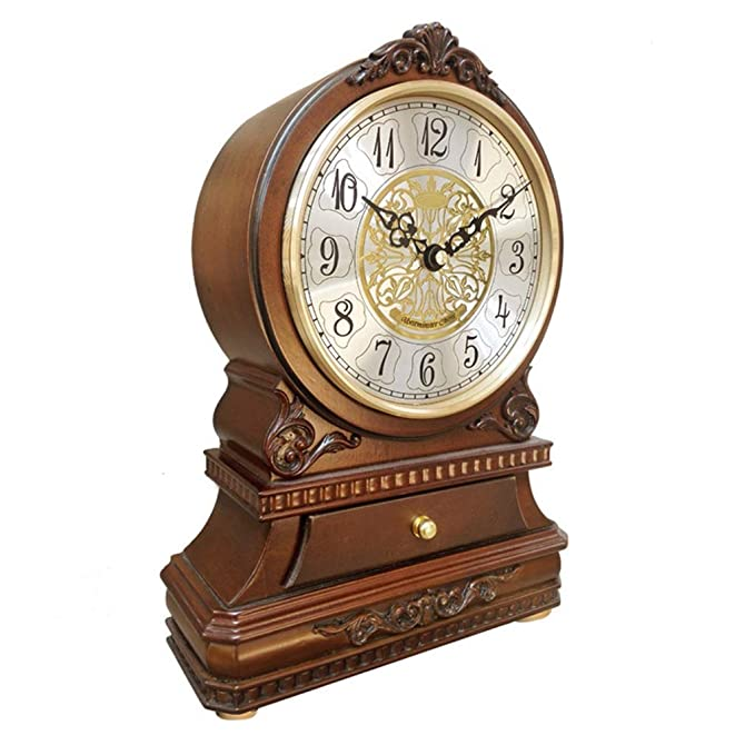 Amazon.com : Family Fireplace Clocks Wooden Desk Clock, Silent Tablecloth Clock Ticking with CAJ ó n Bedroom Decorative Living Room Table Clock Suitable for ...