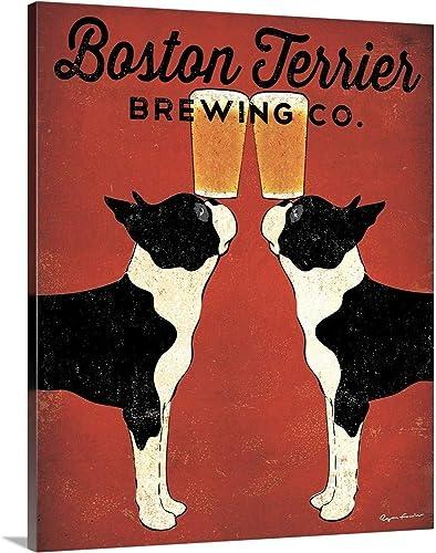 Boston Terrier Brewing Co Canvas Wall Art Print