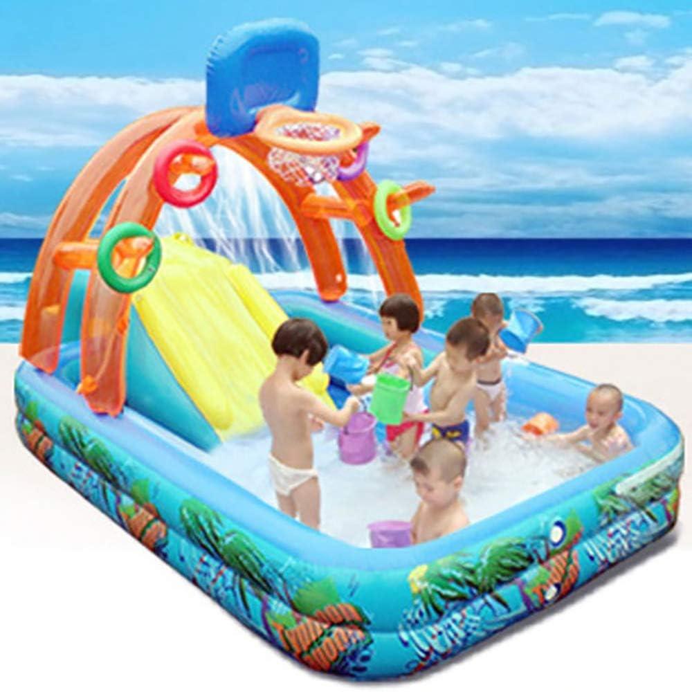 LOY Waves Parque acuático con tobogán de agua, piscina de aerosol para patio exterior para niños (tobogán de baloncesto)