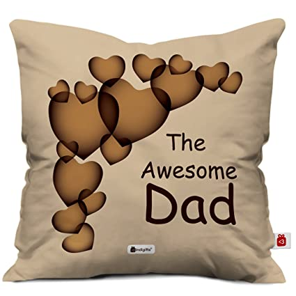 Buy Indigifts The Awesome Dad Quote Beige Cushion Cover 12x12 Inches With Filler