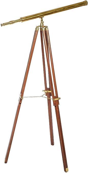 Teleskop Fernrohr Fernglas Messing brüniert mit Holz-Stativ 100cm Antik-Stil