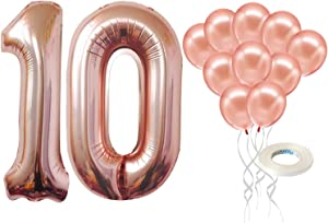 Rose Gold Number 10 Balloon and Latex Balloons Set - Large, 40 Inch Mylar for 10 Birthday | Rose Gold 10 Latex Balloons 12 Inch | 10th Birthday Decorations for Girls or 10 Year Anniversary Decorations