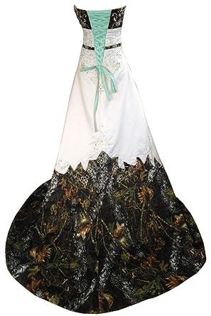 Amazon.com: MILANO BRIDE Inexpensive Camo Wedding Dress Prom Gown ...