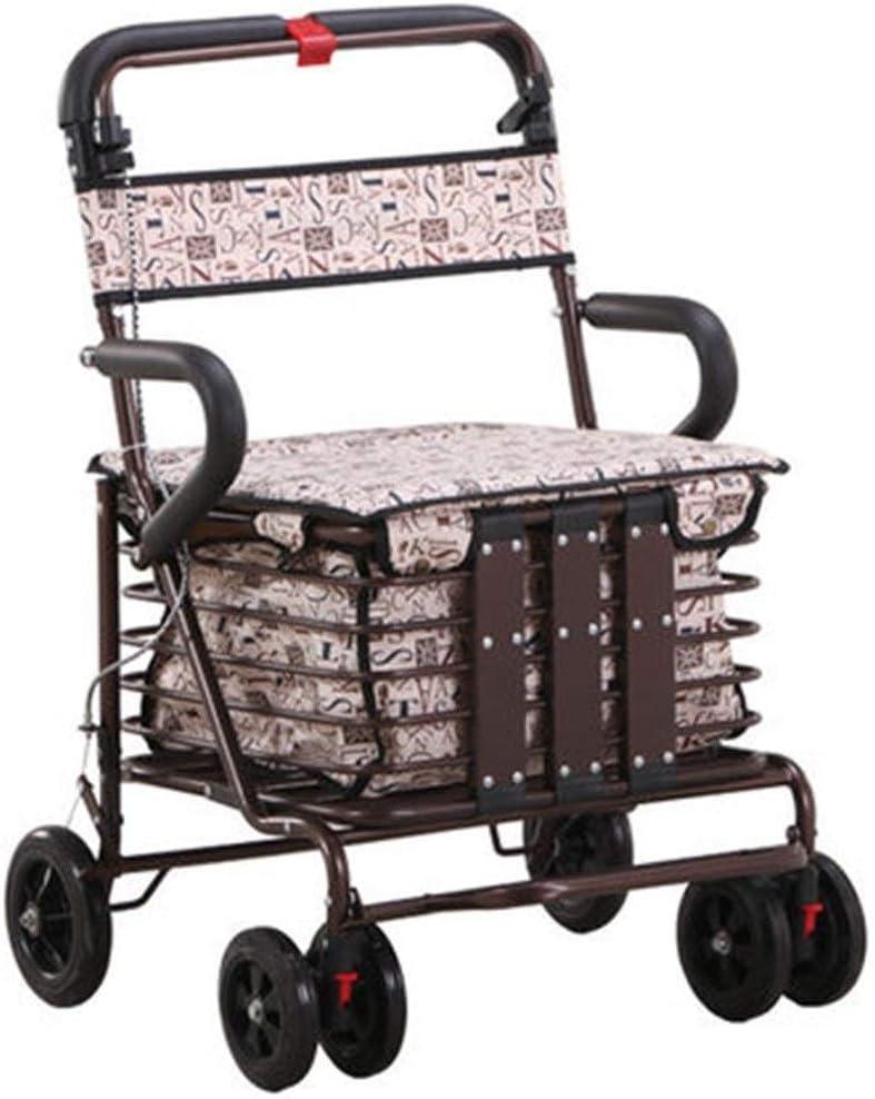 Muletas Caminante Carro De Compras For Anciano De Cuatro Patas Plegable con Carro De Asiento Caminar For Comprar Comida Carrito Pequeño Regalo (Color : B, Size : 50 * 46 * 87cm)