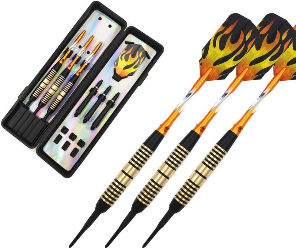 Dardos dardos suaves Juego de 3 piezas 18 g Dardos electrónicos de punta suave Dardos de aluminio Eje Hierro Dardo Barril Llamas Patrón Vuelo de dardos Apto para dardos electrónicos Objetivo