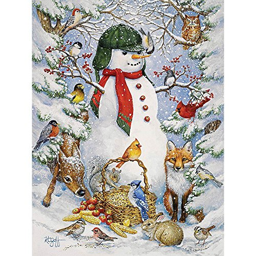Bits and Pieces - 500 Piece Jigsaw Puzzle for Adults - Woodland Snowman - 500 pc Snowy Winter Scene Jigsaw by Artist Kathy Goff