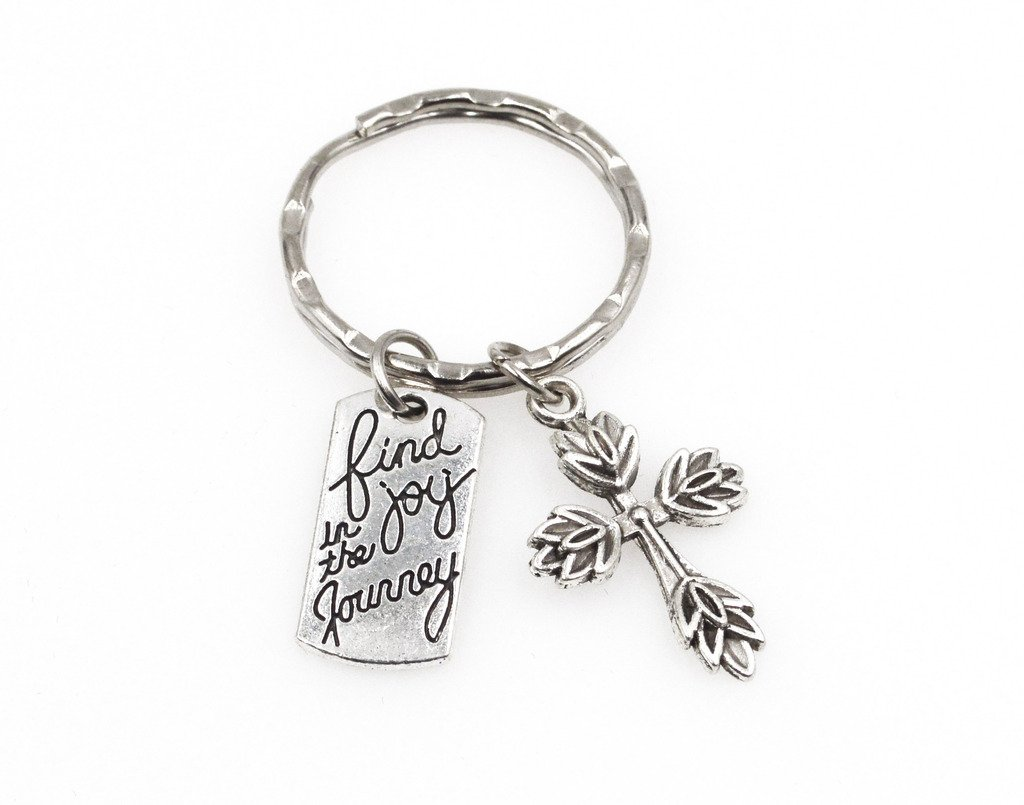 """""""Find Joy in The Journey"""" With Flower Cross Charm Keychain Inspirational Graduation Wedding Bible Study Party Favor Gift."""