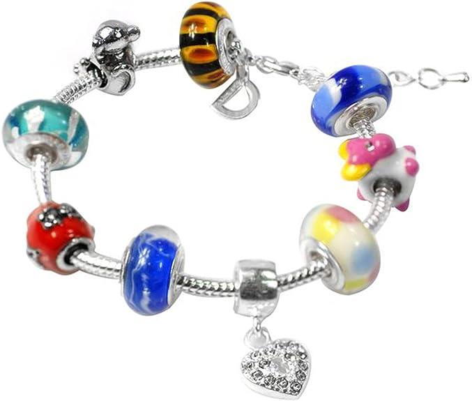 7.5 Adjustable to 7.25 BRC6318236 Glass Charm Bracelet Multi-Colored Beaded Charm Bracelet in Copper