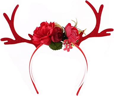 Women Girl Christmas Reindeer Deer Antler Costume Ear Party Hair headband Prop