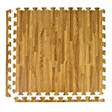 Greatmats Wood Grain and Cork Interlocking 2 ft x 2 ft Foam Floor Tiles 25 Pack Light Wood Grain