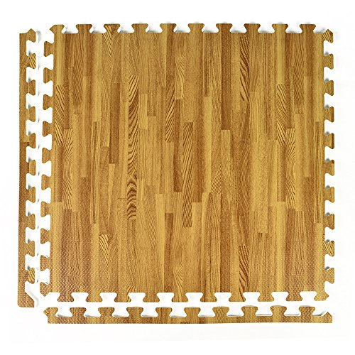 Greatmats Wood Grain and Cork 2 ft x 2 ft x .5 Inch Interlocking Foam Upscale Flooring Tiles for Basements Office Show Booths, 25 Pack (Light Wood Grain)