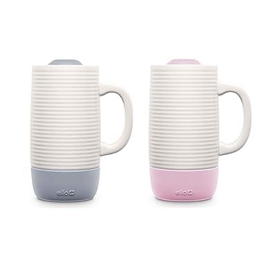 Ello Jane 18oz Ceramic Travel Mug 2 pack (Grey/Pink)
