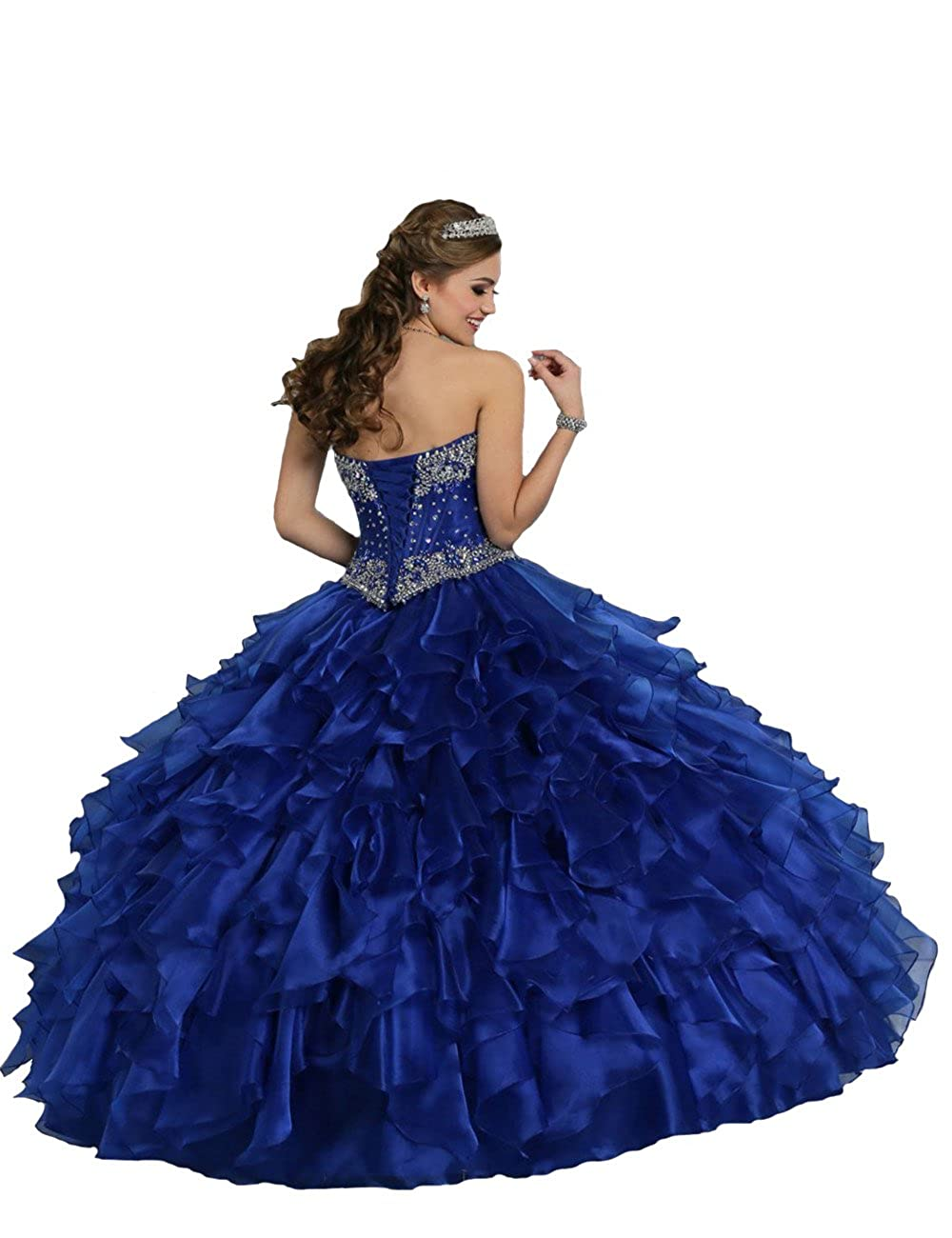434a3ae1685 Amazon.com  TaYan Women s Prom Ball Gowns Beaded Sweet 16 Long Quinceanera  Dresses  Clothing