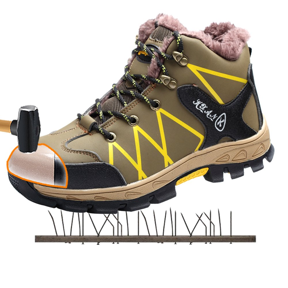 AiChuang Winter Durable Leather Steel Toe Work Shoes Puncture Proof Safety Boots Plus Cotton Steel Toe Boots (11, ZX1715)