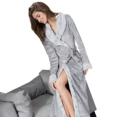 00b981fc85 Women Cute Cotton Flannel Fleece Long Sleeve Soft Cozy Bath Robe Sleepwear  Warm (Grey)