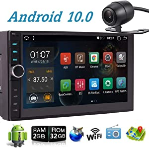 Double Din Car Stereo 2 DIN Car Stereo with Bluetooth 7 Inch Android 10.0 Car Radio in Dash Android Head Unit Autoradio Support GPS Navigation/Mirror Link/WiFi/Colorful Button/Backup Camera/OBDII