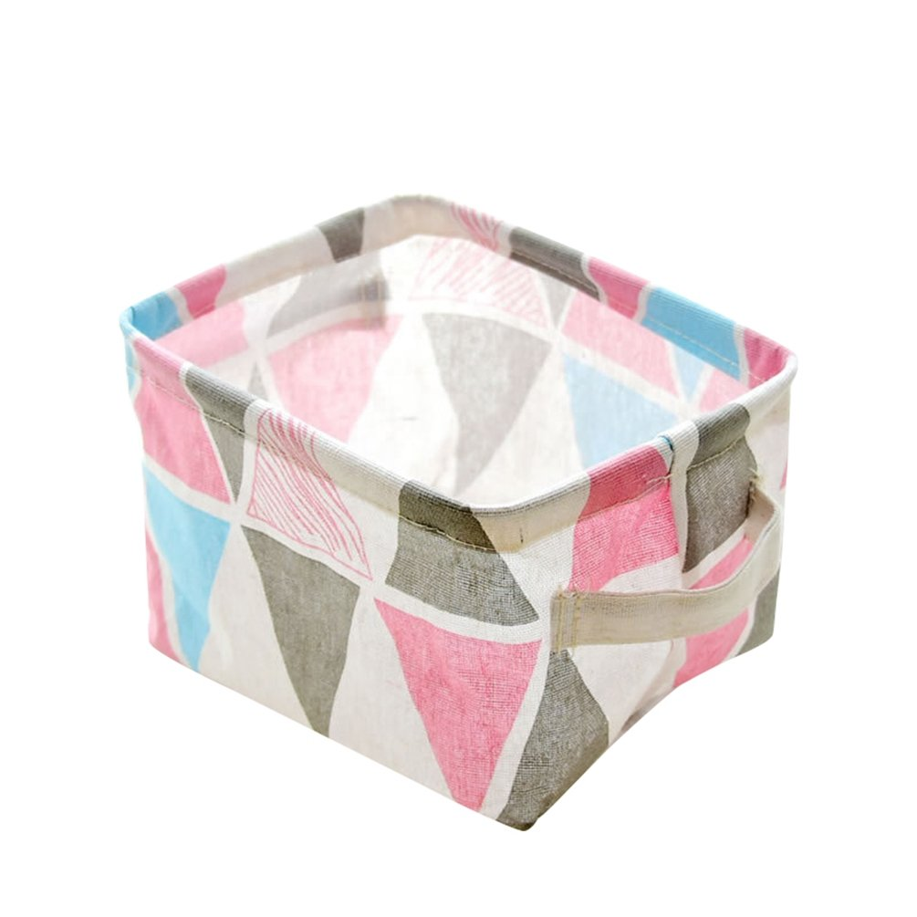 JEELINBORE Rectangulaire Boîte de Rangement Panier de Rangement en Coton et Lin Panier de Collecte de Tissu Conteneur (Floral, 20*16cm)