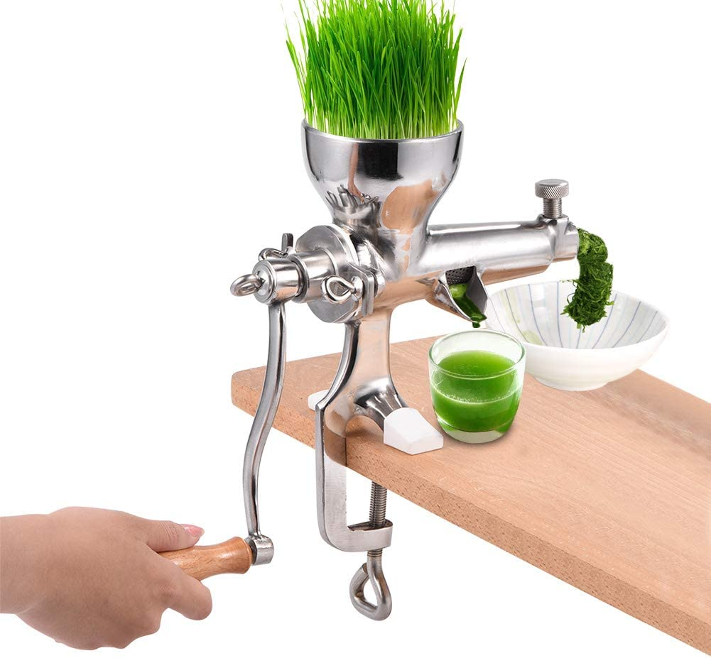 Wheat Grass Juicer, Heavy Duty Stainless Steel Wheatgrass Manual Hand Juicer with Silicone Mat, Home Health Juice Extractor Tool for Soft Fruit Vegetable Leafy Green