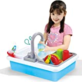 Liberty Imports Kids Role Play Kitchen Sink with Running Water - 20 Piece Electric Dishwashing Toy with Working Faucet…