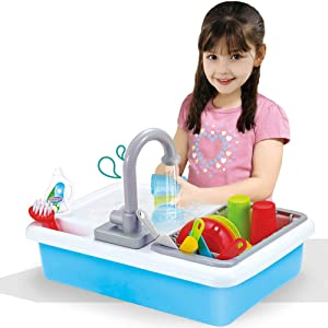 Liberty Imports Kids Role Play Kitchen Sink with Running Water - 20 Piece Electric Dishwashing Toy with Working Faucet, Dish Rack, Plastic Dishes, Sponge, Brush and Pretend Dish Soap