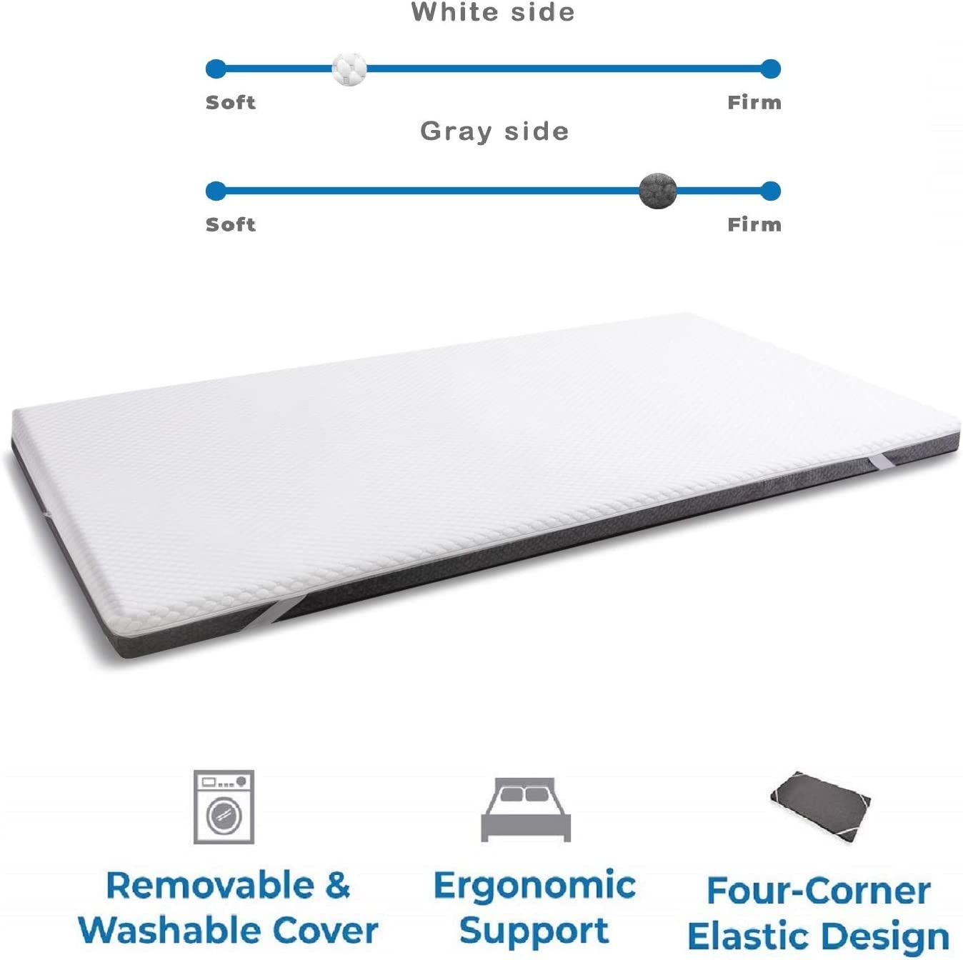 Twin Ventilated 2-Layer Design with Removable Cover for All Seasons wavve 3 Inch Gel Infused Memory Foam Mattress Topper