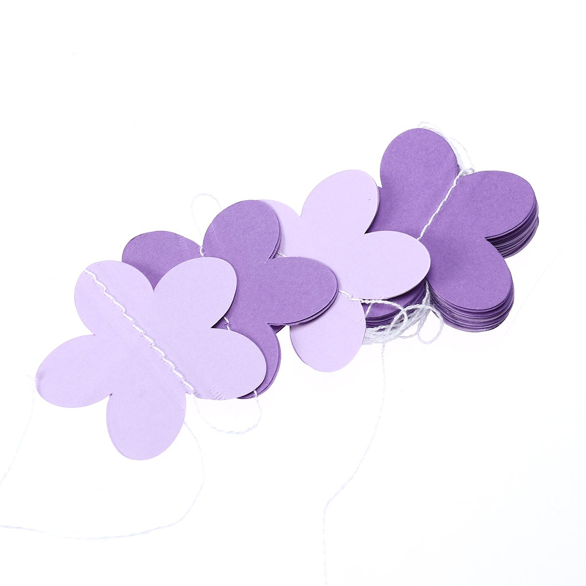 Tinksky Flower Shape Paper Garland for Wedding Bridal Showers Birthday Party Baby Shower Event Party Dark Purple+ Light Purple